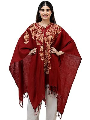 Red-Dahlia Woolen Cape from Kashmir with Ari Hand-Embroidered Flowers