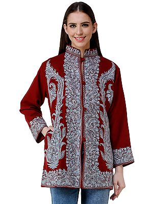 Winery-Red Jacket from Kashmir with Heavy Chain-stitch Embroidery