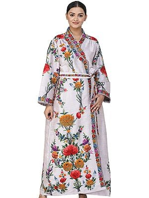 Kashmiri Robe with Ari Embroidered  Multicolored Flowers