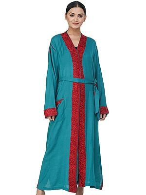 Deep-Lake Kashmiri Robe with Ari Hand-Embroidered Paisleys