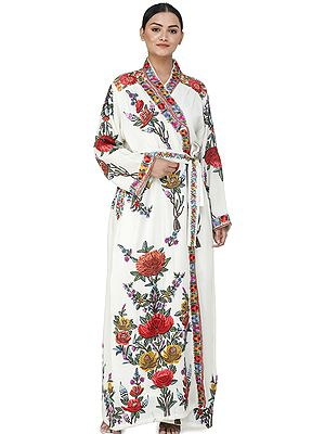 Winter-White Kashmiri Robe with Ari Hand-Embroidered Multicolored Flowers