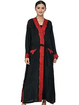 Caviar-Black Kashmiri Robe with Ari Hand-Embroidered Paisleys
