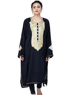 Black Phiran from Kashmir with Zari Embroidery on Neck and Borders