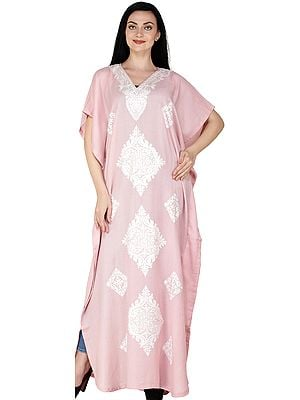 Coral-Blush Kaftan from Kashmir with Ari Embroidered White Flowers and Vines