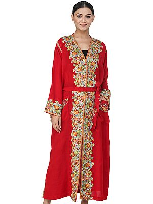 Haute-Red Kashmiri Robe with Ari Hand-Embroidered Flowers