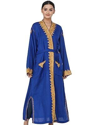 Turkish-Blue Kashmiri Robe with Ari Hand-Embroidered Flowers