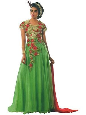 Summer-Green Embroidered Long Dress with Sequins and Red Dupatta