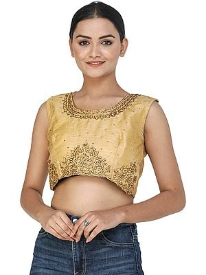 Pale-Gold Designer Choli from Jodhpur with Studded Stones and Beads