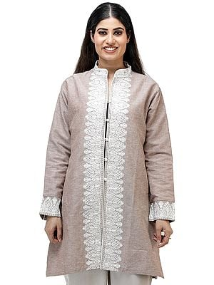 Warm-Taupe Long Jacket from Kashmir with Chain Stitch Embroidery