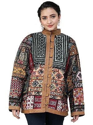 Multicolored Jacket from Kutch with Hand-Embroidered Patchworks and Leather Trims