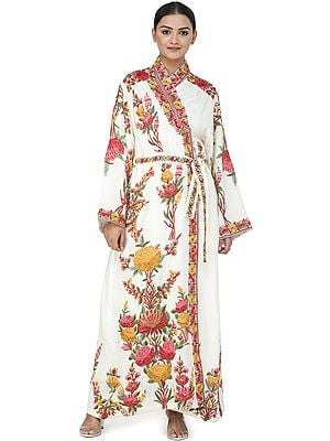 Papyrus-White Kashmiri Robe with Ari Hand-Embroidered Multicolored Flowers