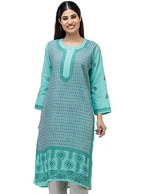 Electric-Green Long Kurta Top/Kameez  from Lucknow with Chikan Hand-Embroidery