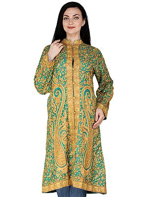Green-Tambourine Kashmiri Long Jacket with All-Over Hand-Embroidered Paisleys