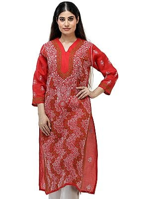 Salsa-Red Long Kurta Top/Kameez  from Lucknow with Chikan Embroidery