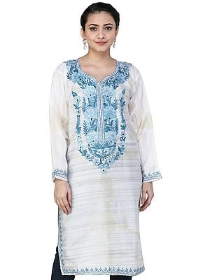 Silk Phiran from Kashmir with Ari Embroidere Flowers on Neck