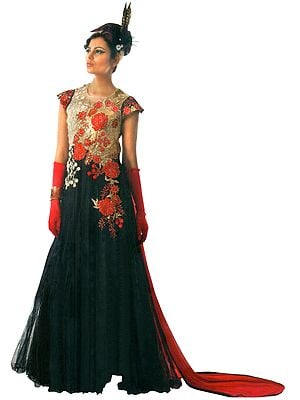 Caviar-Black Embroidered Long Suit with Zari Gota-Patti and Red Dupatta