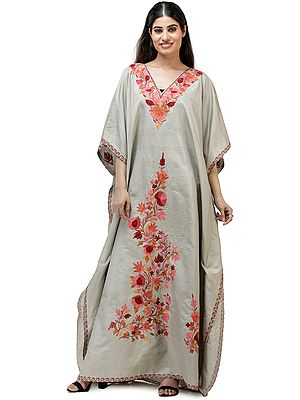 Long Kashmiri Silk Kaftan with Ari Embroidered Flowers