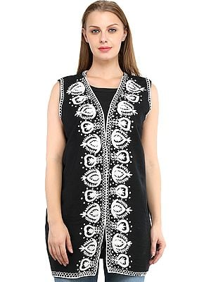 Phantom-Black Sleeveless Jacket from Amritsar with Chain Stitch Embroidery