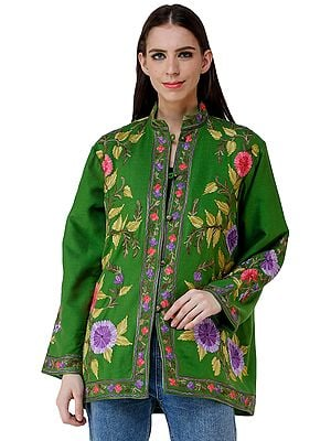 Lime-Green Short Jacket from Kashmir with Embroidered Paisleys