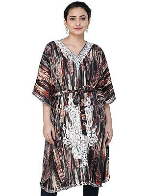 Beige and Black Short Printed Kaftan from Kashmir with Ari-Embroidery and Waist-Belt