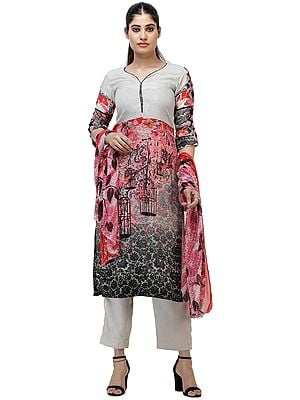 Moonbeam-Gray Digitally Printed Long Suit with Trousers and Dupatta