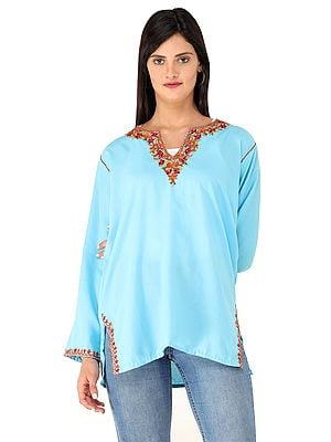 Short Cotton Kurti from Kashmir with Embroidered Flowers