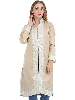 Shifting-Sand Pure Silk Jacket from Srinagar with Ari Embroidery