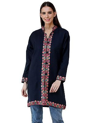 Baritone-Blue Long Jacket from Kashmir with Chain Stitch Embroidered Multi-colored Flowers