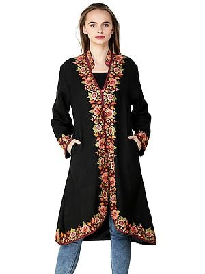 Jet-Black Long Jacket from Kashmir with Chain Stitch Hand-Embroidered Multi-colored Flowers and Vines