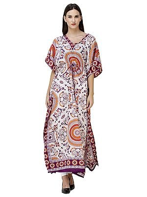 Long Printed Kaftan with Waist Sash