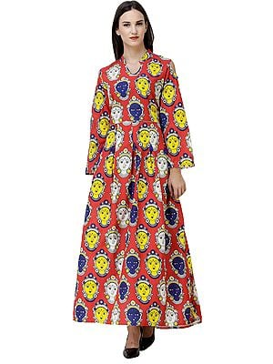 Long Gown with Kalamkari Printed Goddess and Slit Shoulders