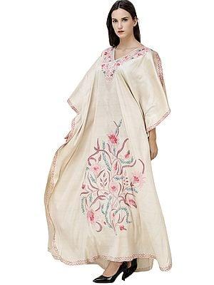 Bleached-Sand Long kashmiri Kaftan with Ari-Embroidered Flowers