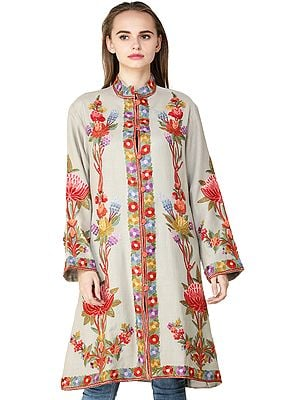 Pussywillow-Gray Long Jacket from Srinagar with Ari-Embroidered Multicolor Flowers by Hand