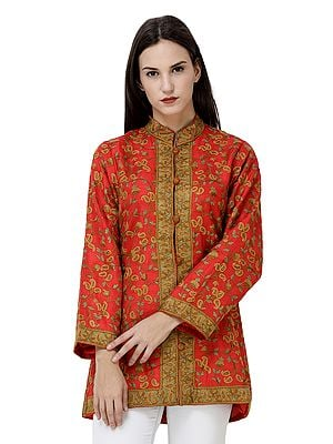 Jacket from Srinagar with  Hand-Embroidered Florals and Paisleys