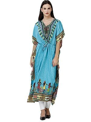 Kaftan with African Printed Village Tribal and Waist Sash