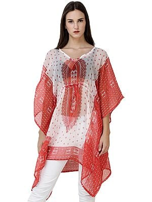 Diaphanous Beachwear Kaftan with Waist Sash