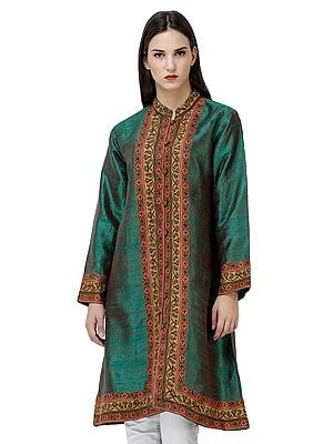 Bosphorus-Green Long Jacket from Srinagar with Ari-Embroidered Flowers by Hand