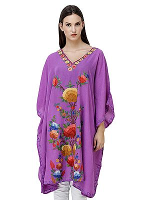 Dewberry Short kashmiri Kaftan with Embroidered Flowers in Multicolor Thread