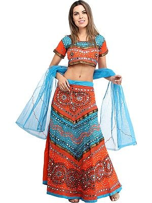 Lehenga Choli from Rajasthan with Thread Work and Sequins
