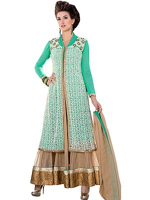 Lucite-Green and Beige Designer Suit with Embroidered Overcoat and Sequined Patch Border