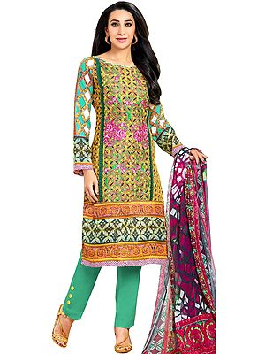 Yellow and Green Parallel Salwar Suit with Floral Print and Embroidered Patch