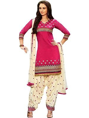 Pink and Off-White Patiala Salwar Kameez Suit with Embroidered Bootis