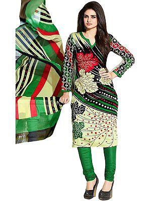 Sylvan-Green Chudidar Kameez Suit with Printed Leaves