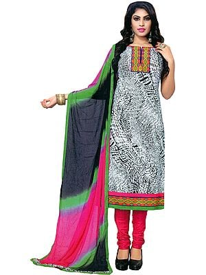 White and Carmine Printed Choodidaar Kameez Suit with Embroidered Patch on Neck and Border