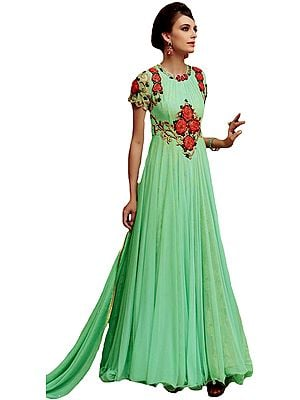 Mint-Green Designer Flowy Gown with Embroidered Flowers