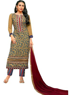 Beige and Maroon Parallel Salwar Suit with Ari-Embroidery and Patch on Neck