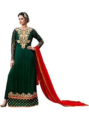 Bistro-Green Floor Length Choodidaar Kameez Suit with Floral Embroidery and Sequins