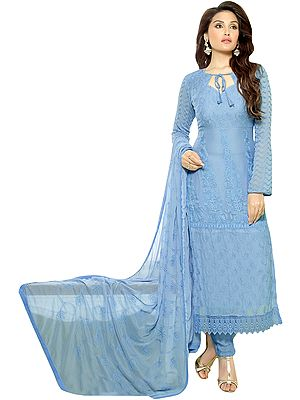 Angel-Falls Salwar Kameez Suit with Ari Self-Embroidery and Crochet Border