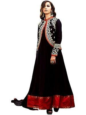 Phantom-Black Plain Anarkali Suit with Floral-Embroidered Bolero Jacket