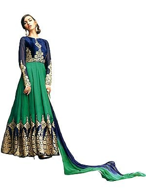 Dark-Blue and Green Wedding Anarkali Suit with Densely Zari-Embroidered and Crystals